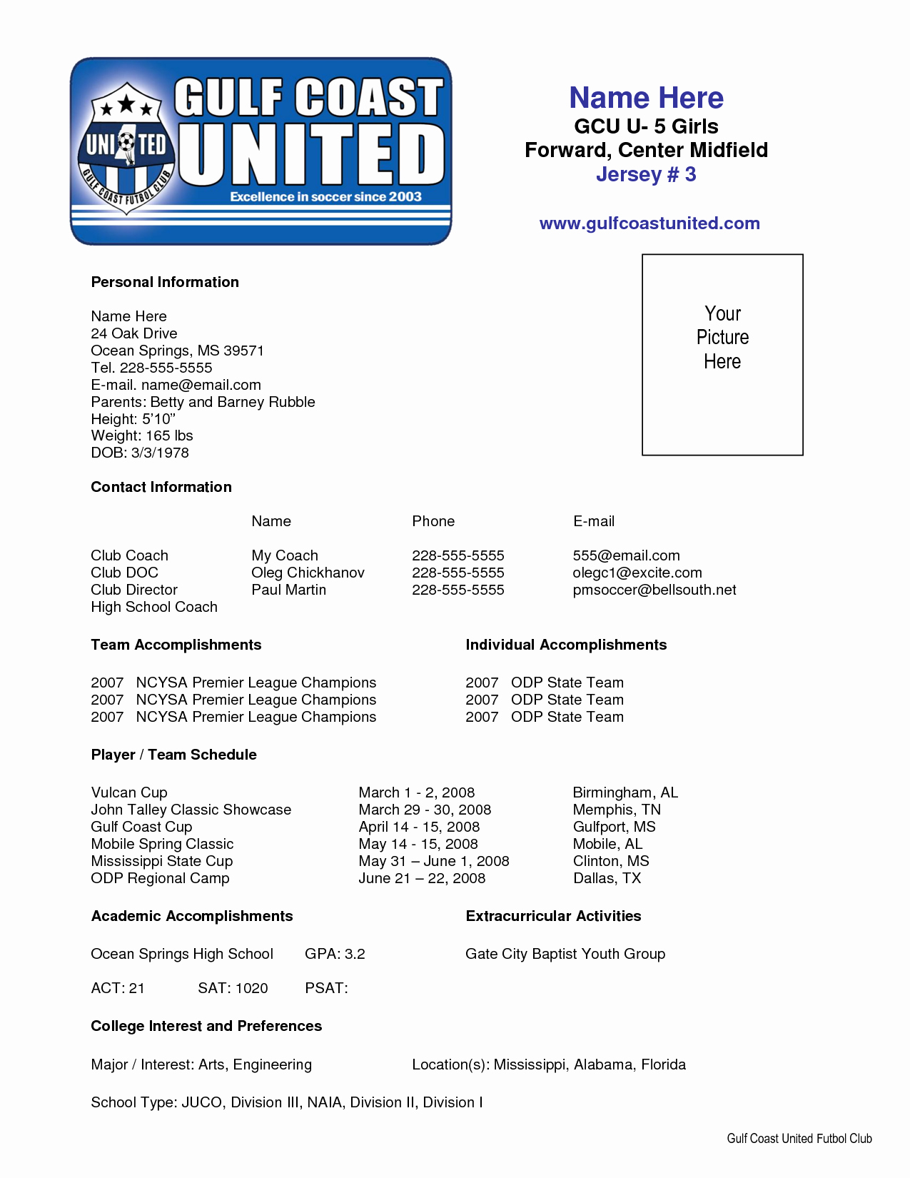 Soccer Coach Resume Template Best Of Sample soccer Resume Places to Visit