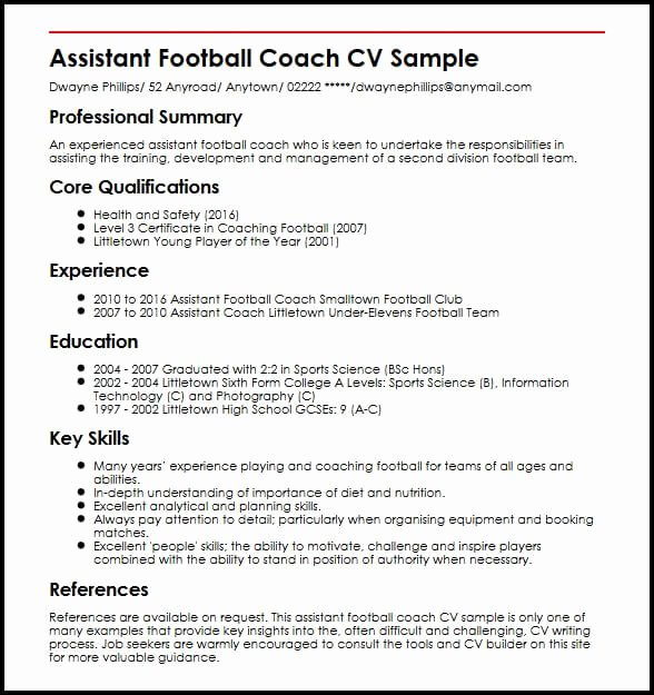 Soccer Coach Resume Template Elegant assistant Football Coach Cv Sample