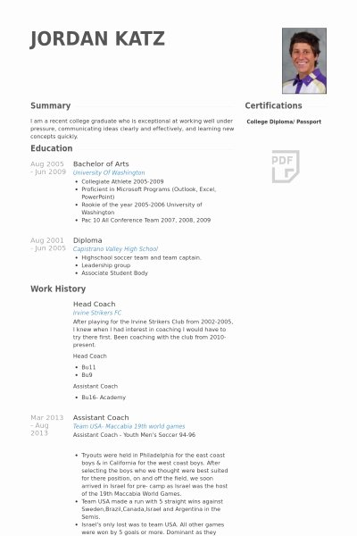 Soccer Coach Resume Template Elegant College Coach Resume Best Resume Collection