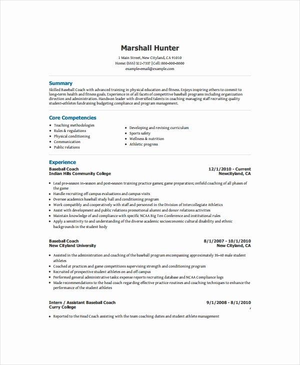 Soccer Coach Resume Template Inspirational Coach Resume Template 6 Free Word Pdf Document