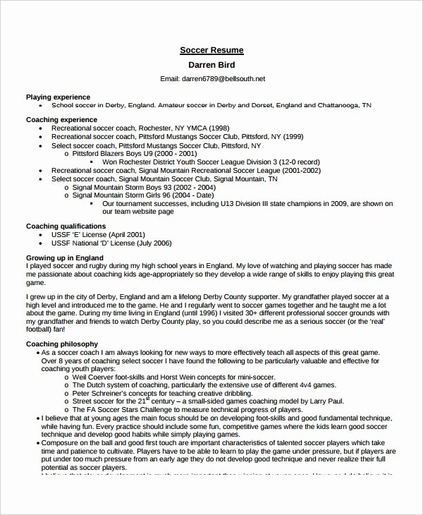 Soccer Coach Resume Template Inspirational Coach Resume Template 6 Free Word Pdf Document