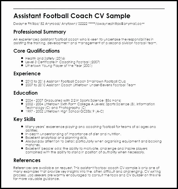 Soccer Coach Resume Template Lovely Chic High School Baseball Coach Resume Sample In Football