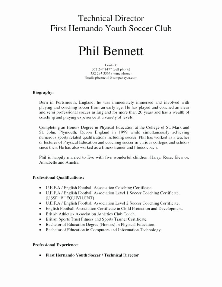 Soccer Coach Resume Template Luxury assistant soccer Coach Resume Example Coaching Template