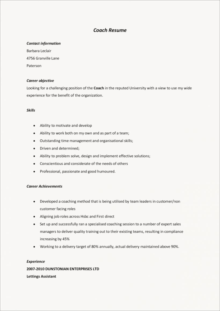 Soccer Coach Resume Template Luxury soccer Coach Resume Template Coaching Cover Letter