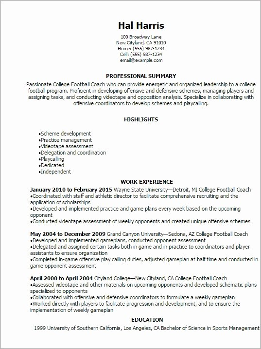 Soccer Coach Resume Template New Football Coaching Resumes Christiantodayfo