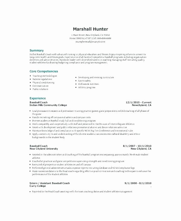Soccer Coach Resume Template Unique assistant soccer Coach Resume Example Coaching Template