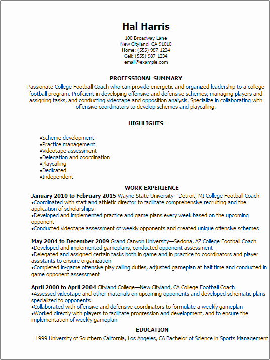 Soccer Coach Resume Template Unique College Football Coach Resume Template — Best Design