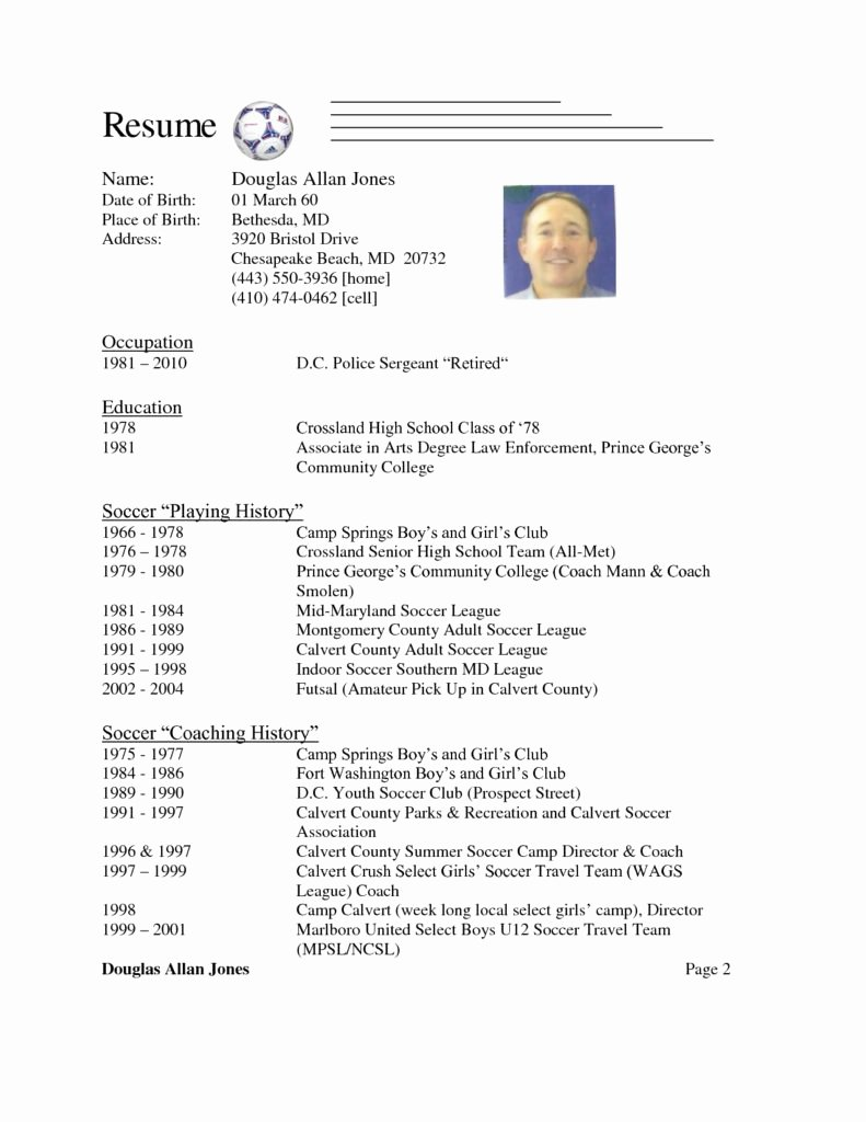 Soccer Coach Resume Template Unique soccer Coach Resume Coaching Sample
