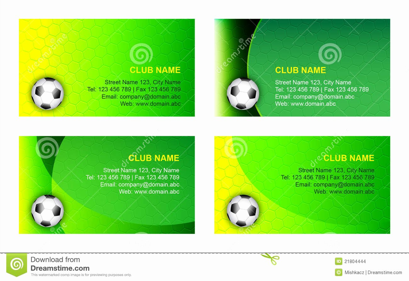 Soccer Player Cards Template Inspirational soccer Business Card Template Stock Image
