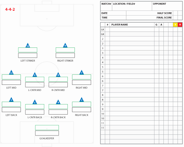 Soccer Player Cards Template Inspirational soccer formations and Systems as Lineup Sheet Templates