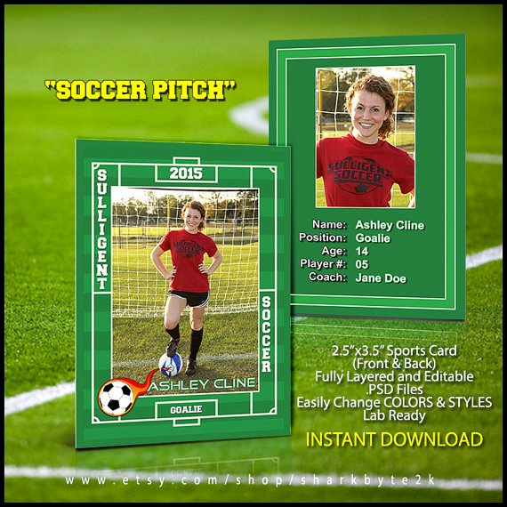 Soccer Player Cards Template Lovely soccer Sports Trader Card Template for Shop by