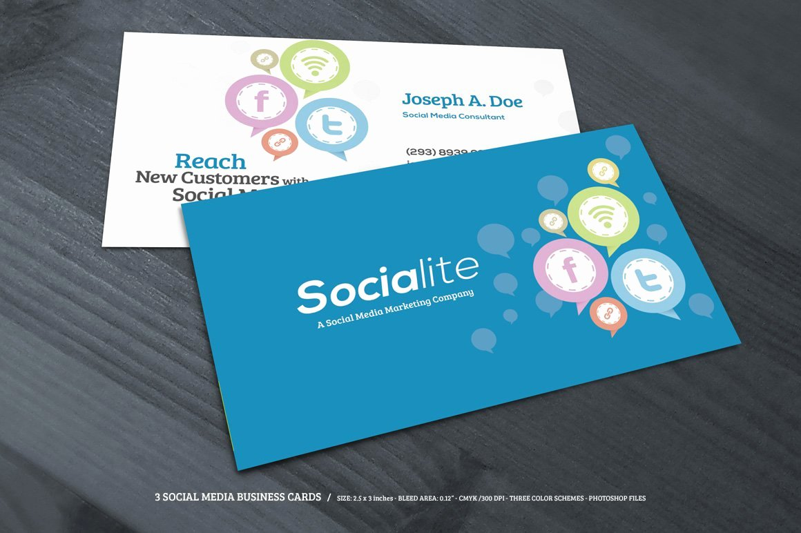 Social Media Business Card Template Best Of 3 social Media Business Cards Business Card Templates