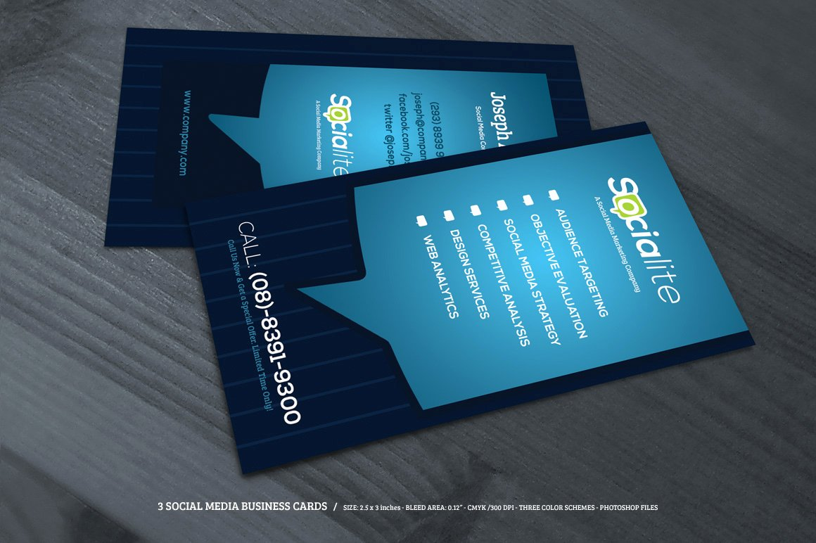 Social Media Business Card Template Elegant Preview 02 Creative Market 3 social Media Business Cards O