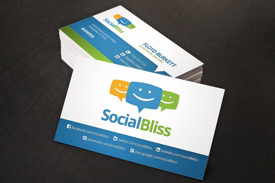 Social Media Business Card Template Luxury social Media Business Card Business Card Templates On