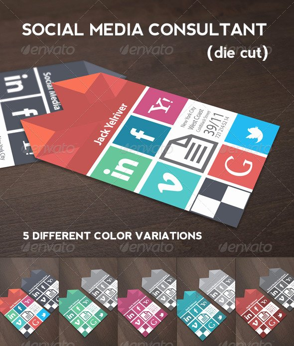 Social Media Business Card Template Luxury social Media Consultant Business Card
