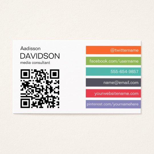 Social Media Business Card Template New Bright Bar Qr Code social Media Business Card