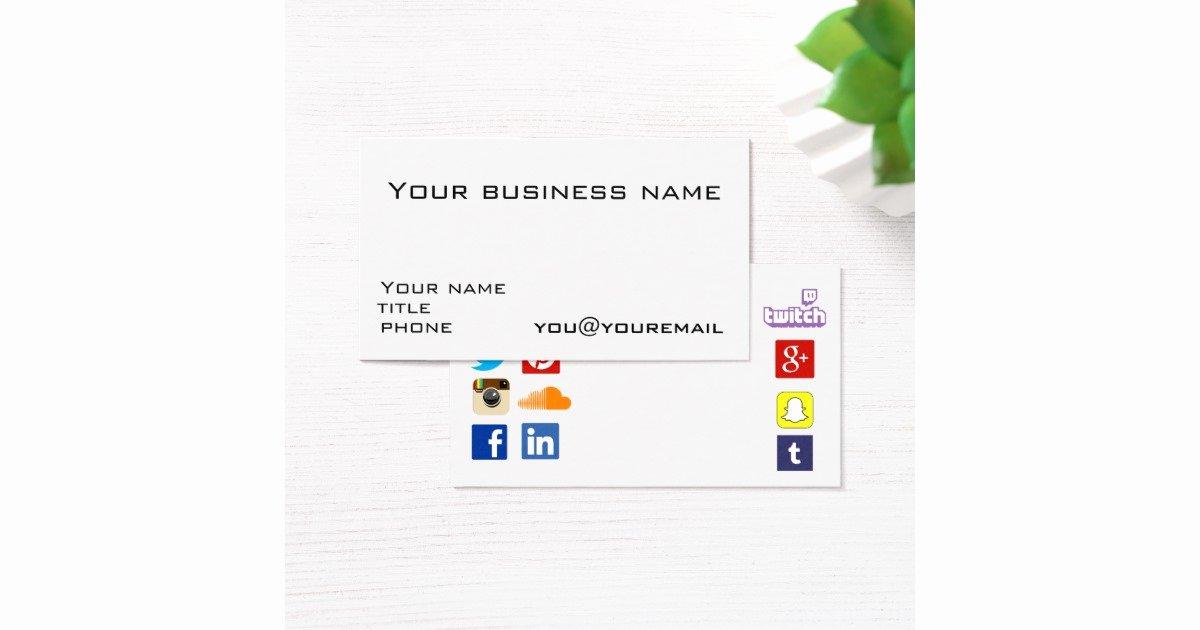 Social Media Business Card Template Unique Business Card Template with social Media Icons 3
