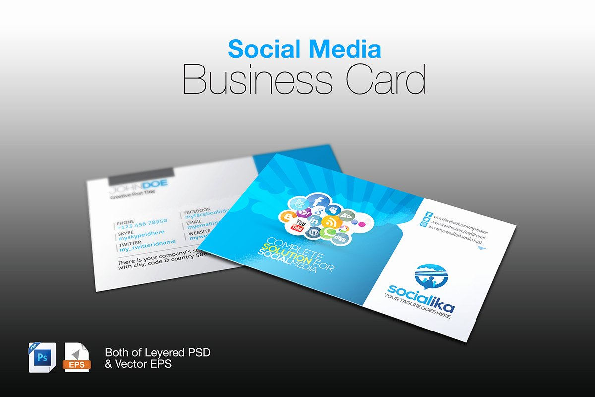 Social Media Business Card Template Unique social Media Business Card Corporate Identity Template