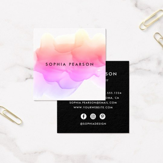 Social Media Business Cards Template Awesome Modern Watercolor Blot