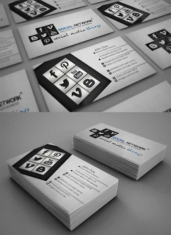 Social Media Business Cards Template Beautiful social Media Business Cards 20 Creative Examples