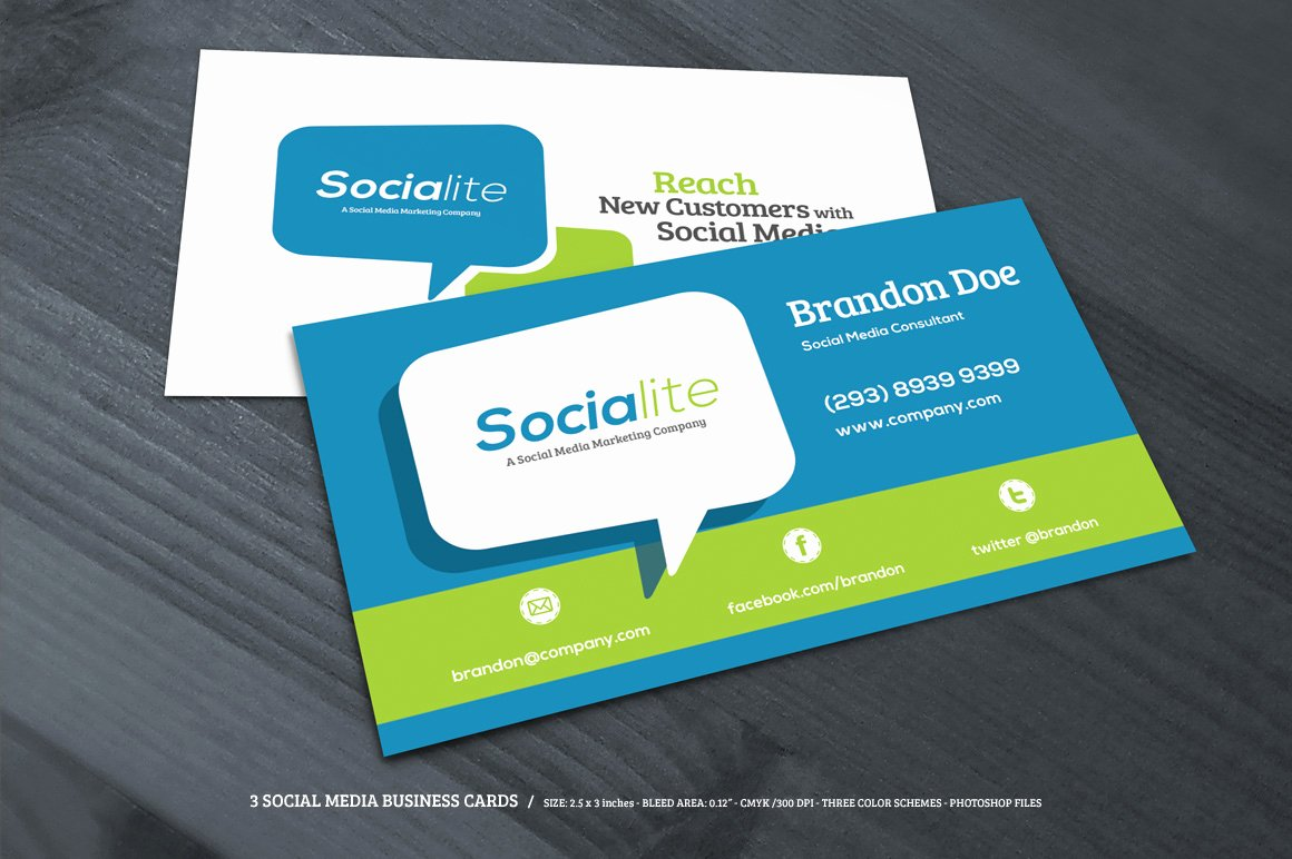 Social Media Business Cards Template New Preview 03 Creative Market 3 social Media Business Cards O