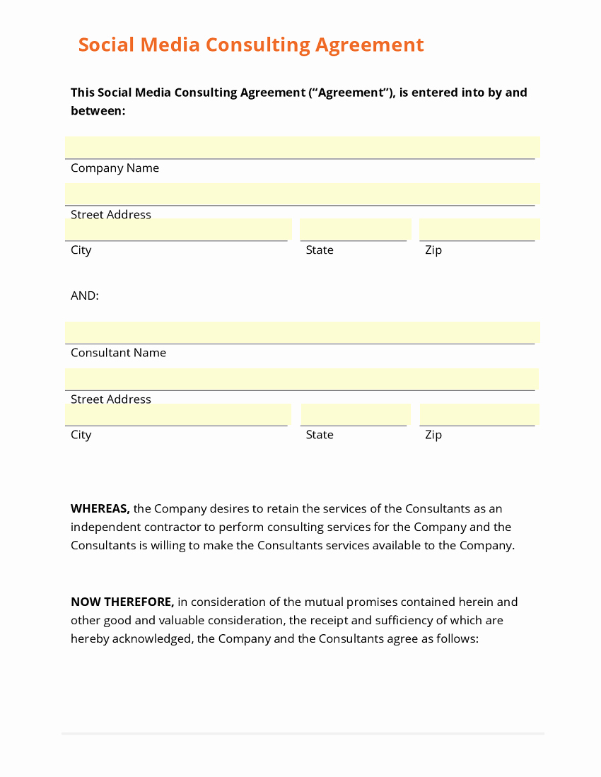 Social Media Marketing Contract Template Beautiful Business form Template Gallery