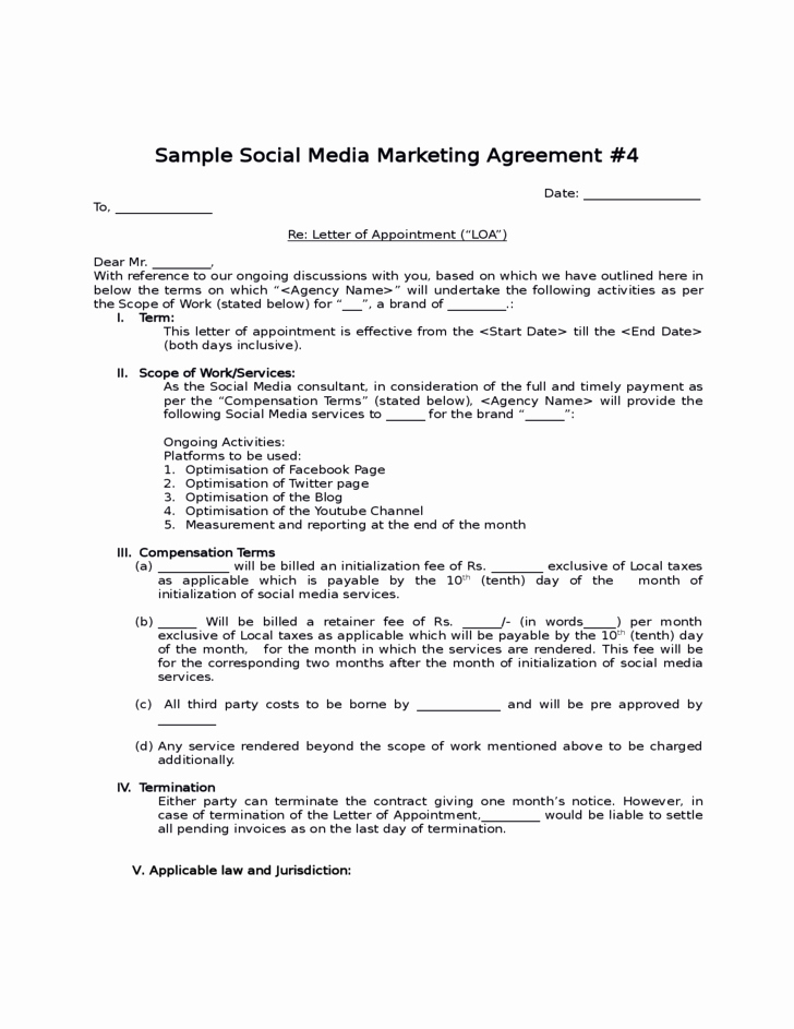 Social Media Marketing Contract Template Elegant social Media Contract Templates Word Excel Samples