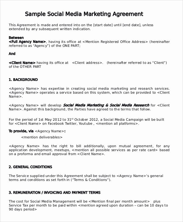 Social Media Marketing Contract Template Fresh social Media Contract Template