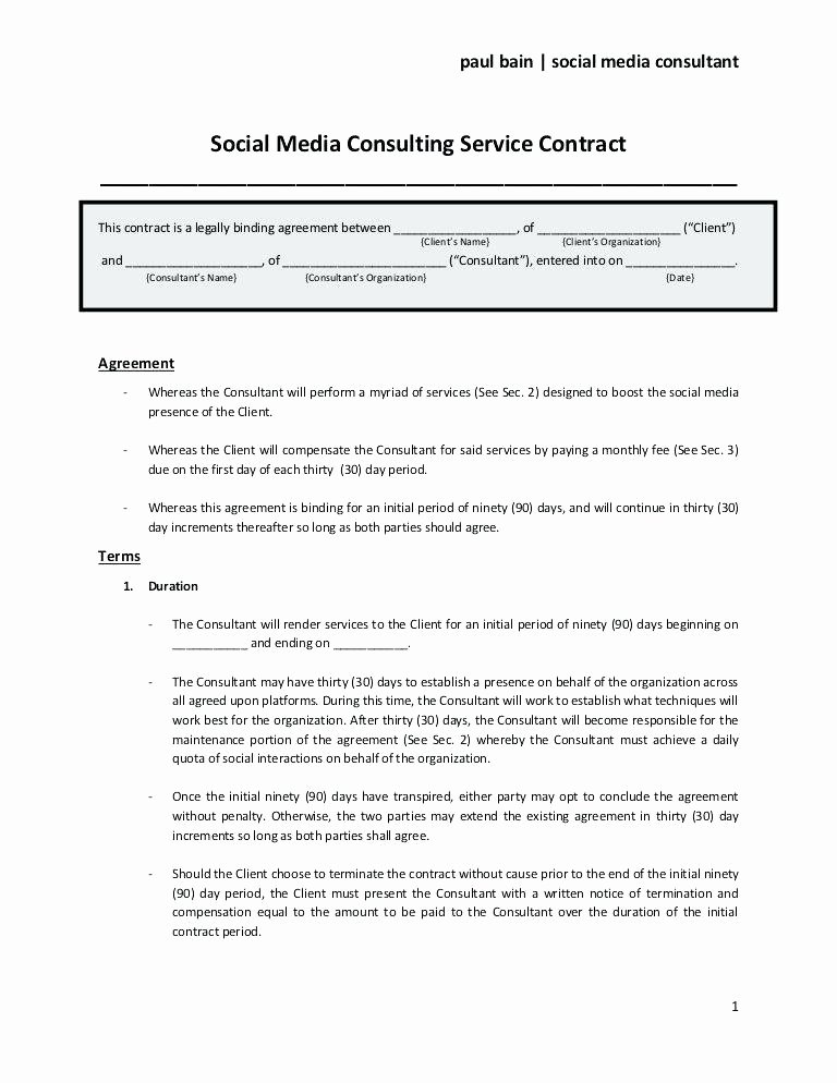 Social Media Marketing Contract Template Inspirational Marketing Contract Template – Vitaesalute