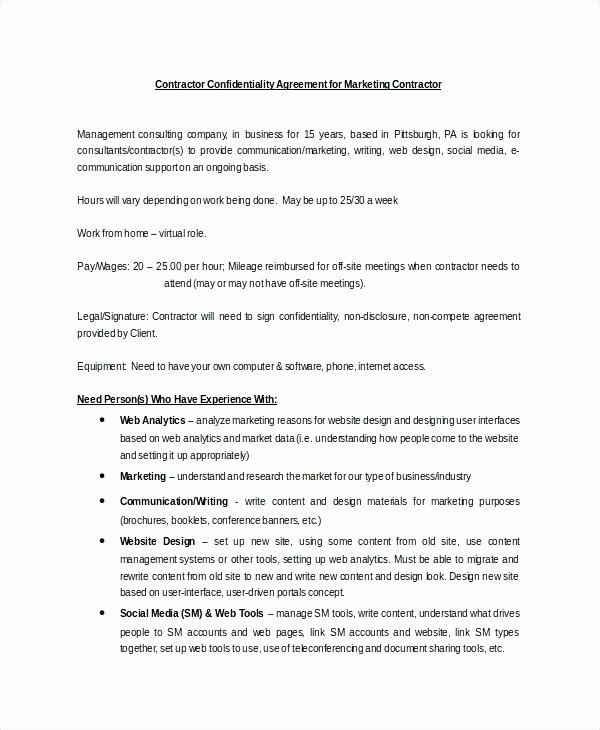 Social Media Marketing Contract Template Lovely social Media Agreement Template Sample Marketing