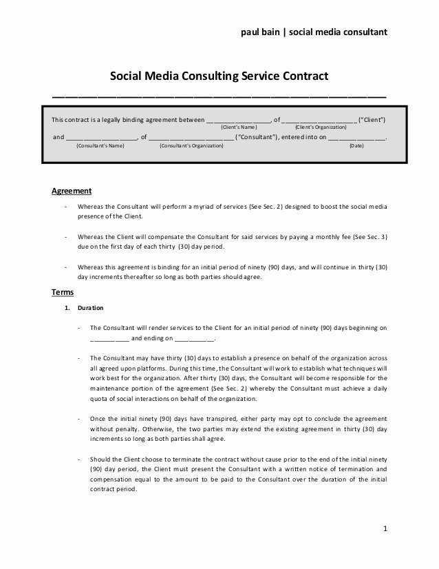 Social Media Marketing Contract Template Lovely social Media Consulting Services Contract