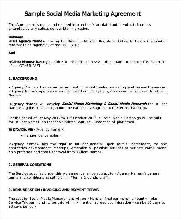 Social Media Marketing Contract Template New 13 Marketing Consulting Agreement Samples