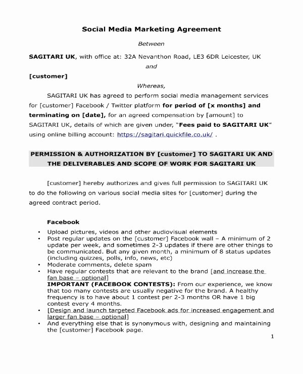 Social Media Marketing Contract Template New 3 social Media Marketing Contract Pdf