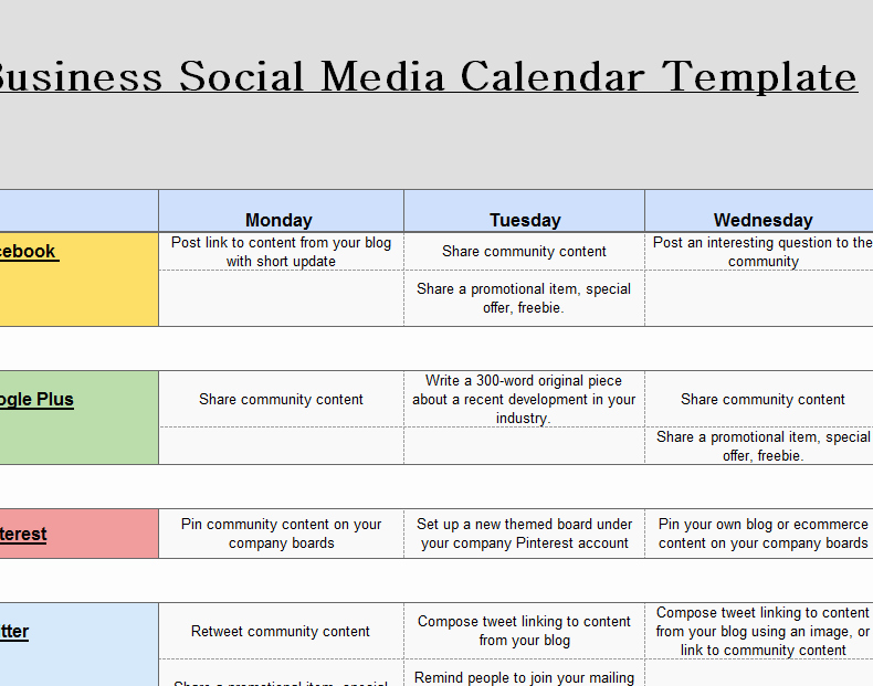 Social Media Plan Template Excel Awesome 2016 social Media Marketing Calendar My Excel Templates