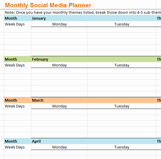 Social Media Plan Template Excel Fresh Monthly social Media Planner My Excel Templates