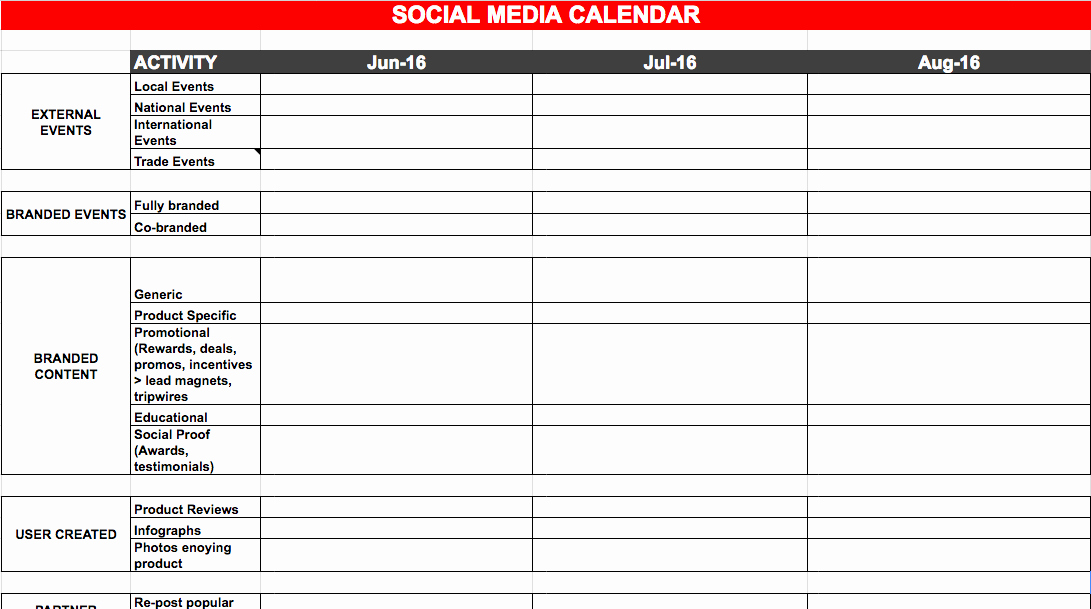 Social Media Plan Template Excel Inspirational social Media Calendar Template