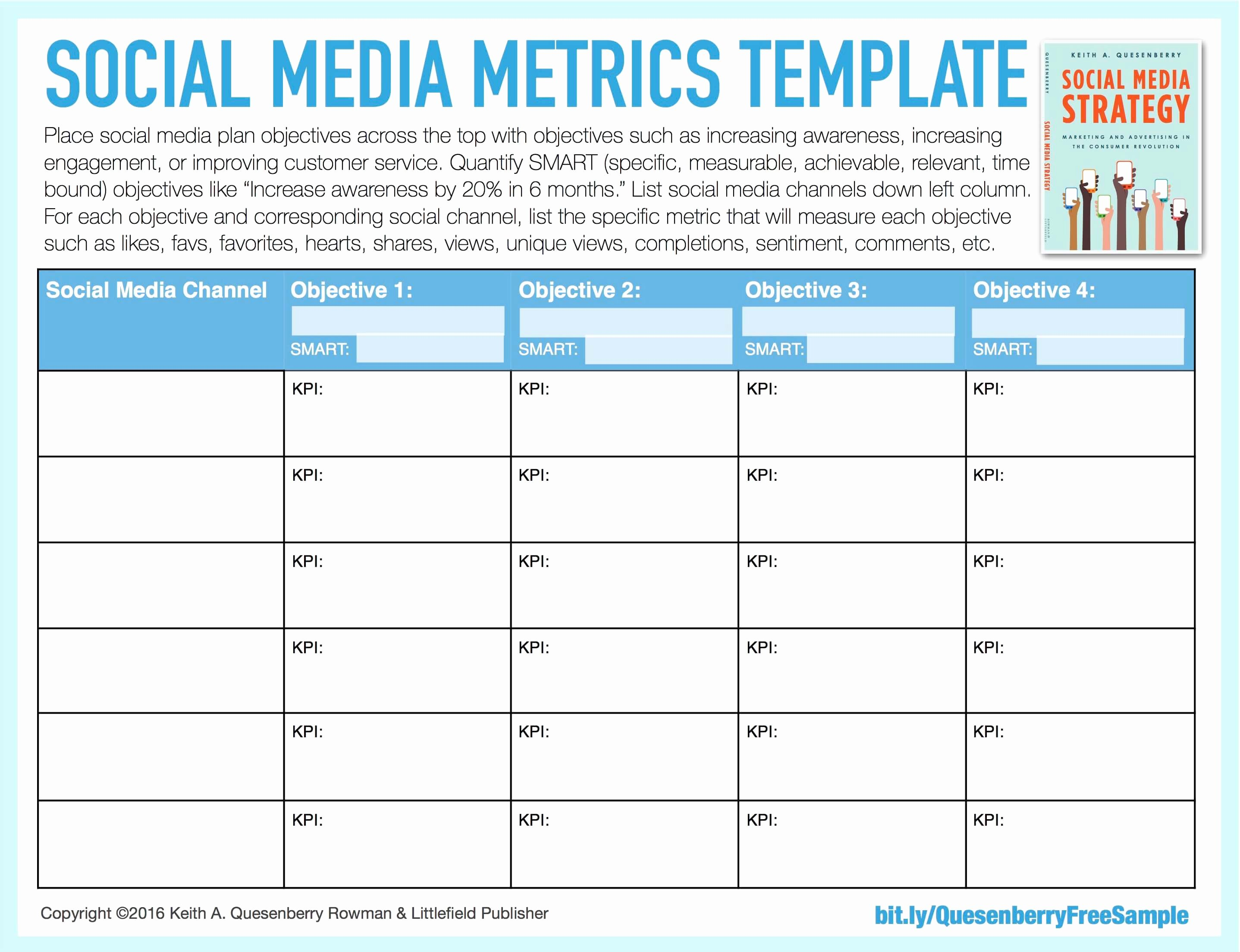 Social Media Plan Template Excel Luxury social Media Templates Keith A Quesenberry