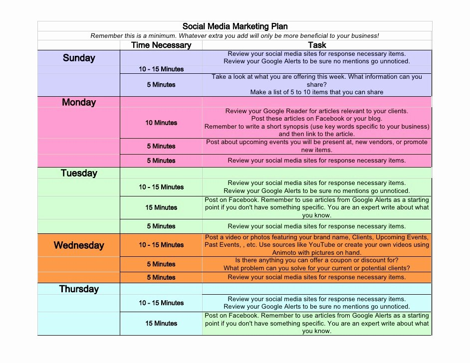 Social Media Post Schedule Template Beautiful social Media Weekly Schedule