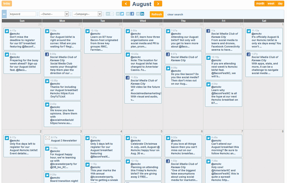 Social Media Post Schedule Template Best Of Marketing Calendar Emfluence Marketing Platform