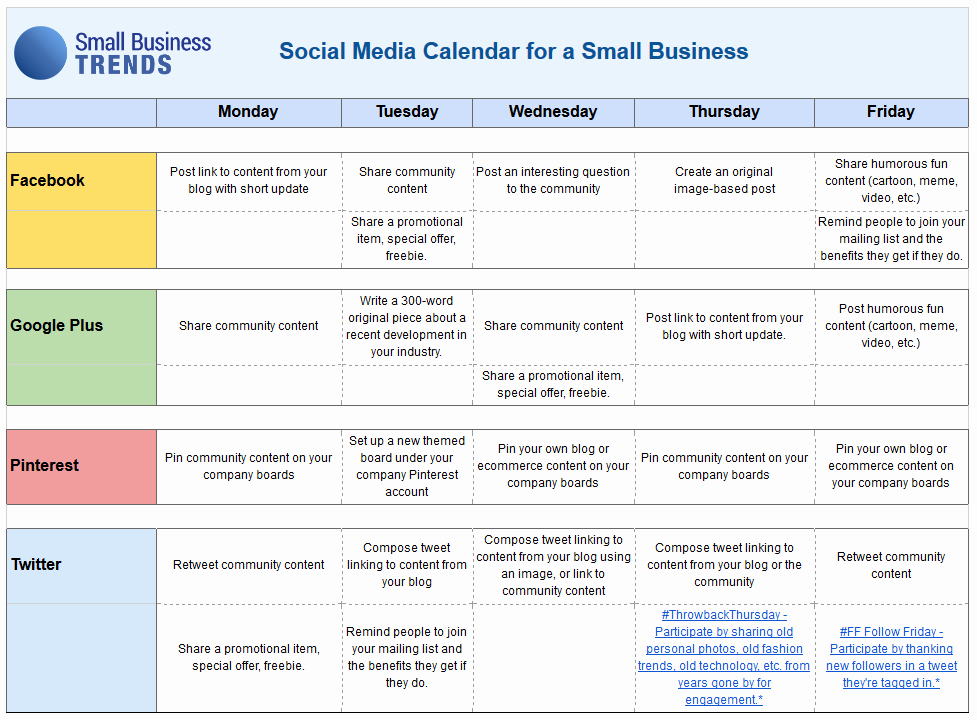 Social Media Post Schedule Template Elegant social Media Calendar Template for Small Business