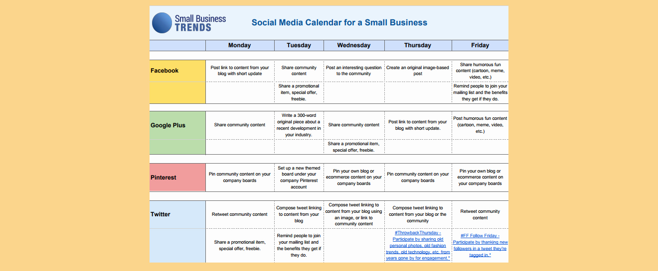 Social Media Post Schedule Template Inspirational social Media Calendar Template for Small Business