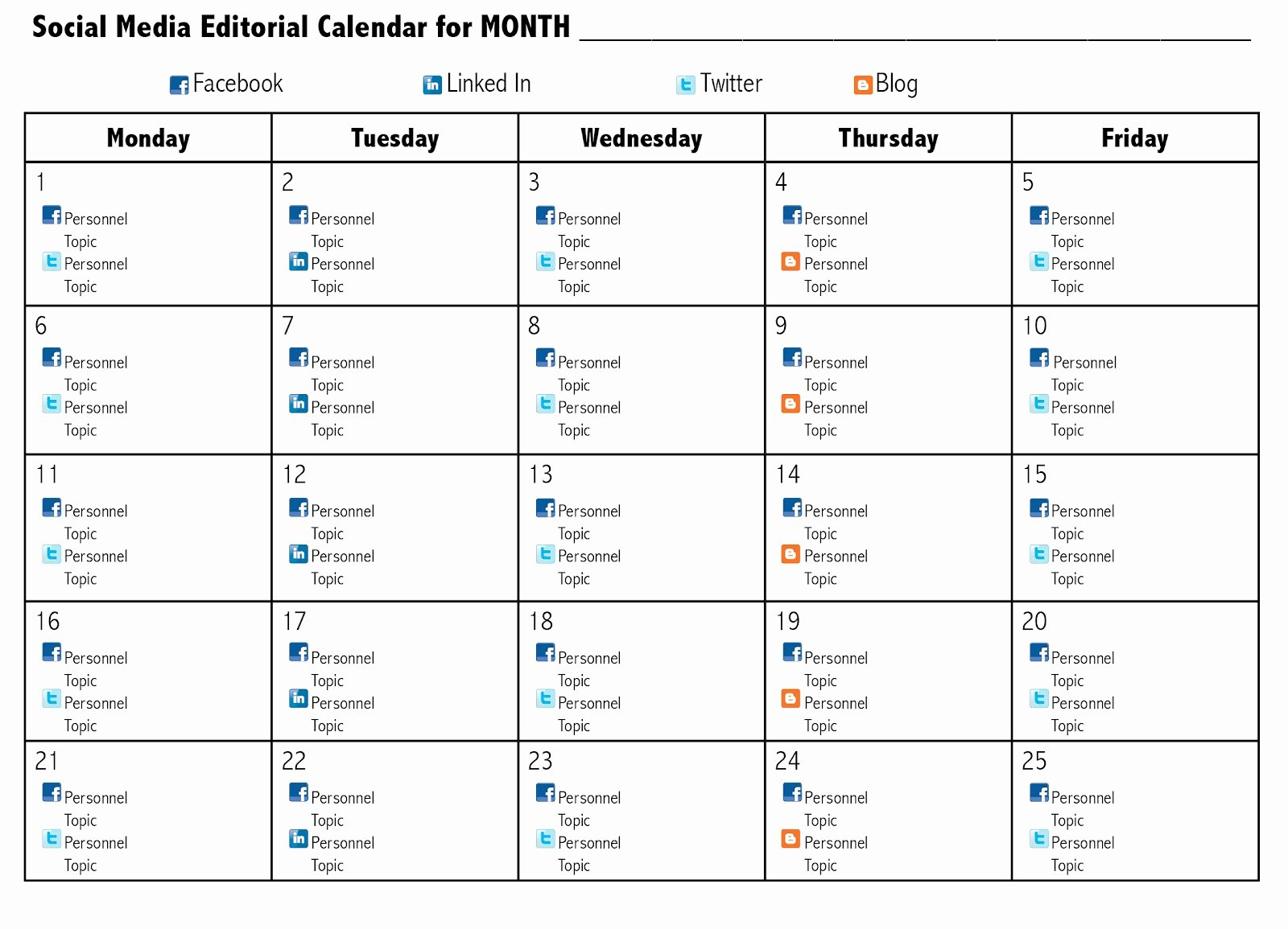 Social Media Post Schedule Template Lovely social Media Content Calendar Examples