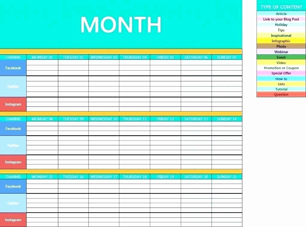 Social Media Post Schedule Template Unique Monthly social Media Calendar Template