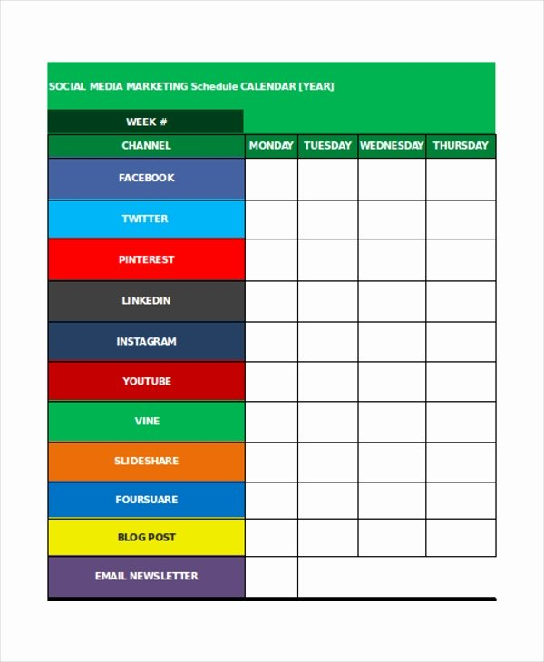 Social Media Posting Schedule Template Awesome 35 Schedule Templates