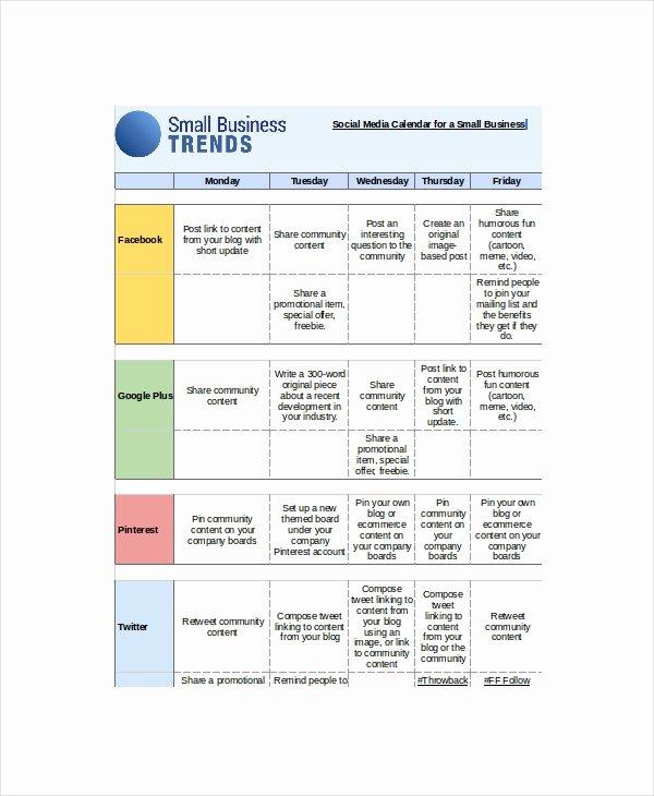 Social Media Posting Schedule Template Beautiful social Media Calendar Template 7 Free Word Excel Pdf