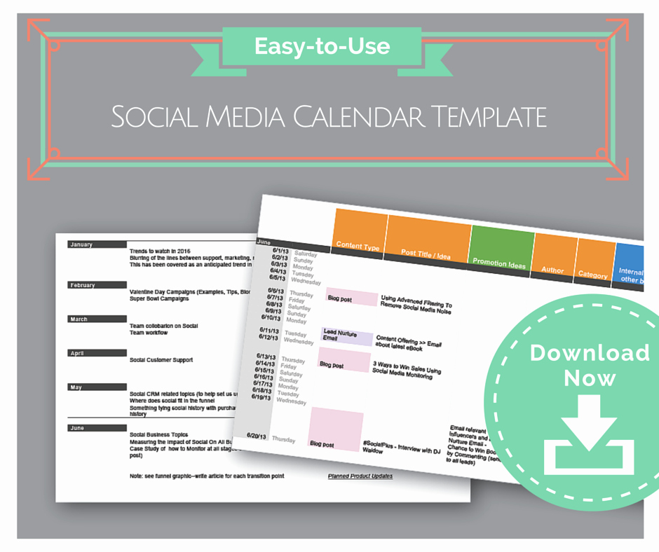 Social Media Posting Schedule Template Best Of Easy to Use social Media Calendar Template