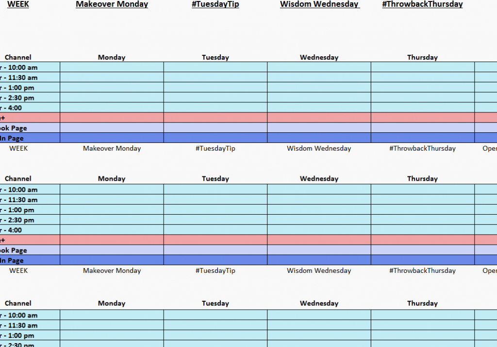 Social Media Posting Schedule Template Fresh Four Month Per Page Calendar Templateml