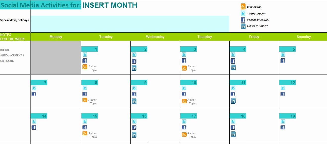 Social Media Posting Schedule Template New the Best Content and social Media Calendar Templates