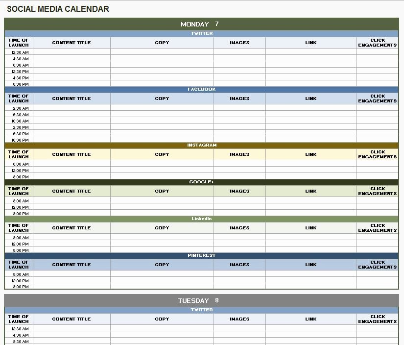 Social Media Posting Schedule Template Unique 12 Free social Media Templates