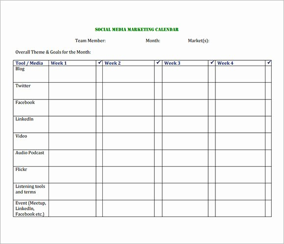 Social Media Posting Schedule Template Unique 8 Sample social Media Calendar Templates to Download